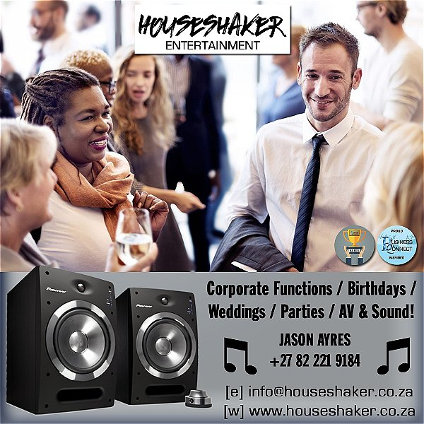 Houseshaker DJ for Corporate, Weddings birthdays and parties. This logo was designed by Business Connect 360 in Johannesburg South Africa