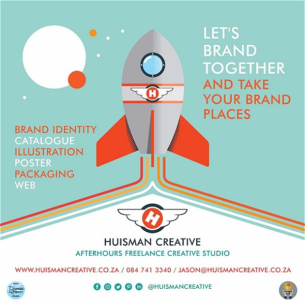 Huisman Creative is a freelance studio for brand identity. This logo was designed by Business Connect 360 in Johannesburg South Africa