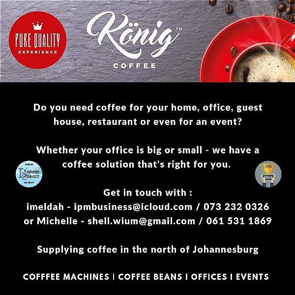 Konig Coffe is tasty. Try their coffee machines, coffee beans and they can help with events in Johannesburg north. This logo was designed by Business Connect 360 in Johannesburg South Africa