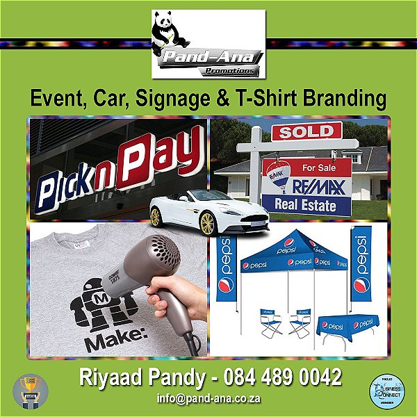 Event, Car, Signage and T shirt branding, call Pand-Ana. This logo was designed by Business Connect 360 in Johannesburg South Africa