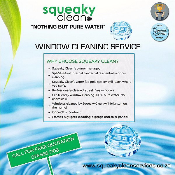 Squeaky clean window cleaning service. Owner managed, streak free windows, skylights, cladding and solar panels. This logo was designed by Business Connect 360 in Johannesburg South Africa