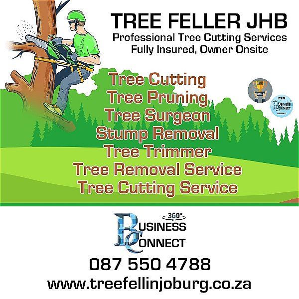 Tree Fellin Joburg is unique in that the Owner James is always onsite and is fully insured. James can help with Tree and stump removal and all tree Felling needs. This logo was designed by Business Connect 360 in Johannesburg South Africa